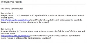 Books -- WWII Research Guides at WRHS -- emailed results