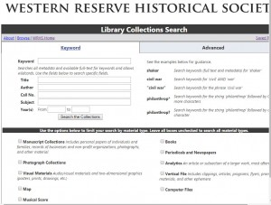 Website -- WRHS Catalog Search page