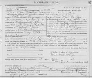 Marriage--Dingman, Walter C and Mina Woolley