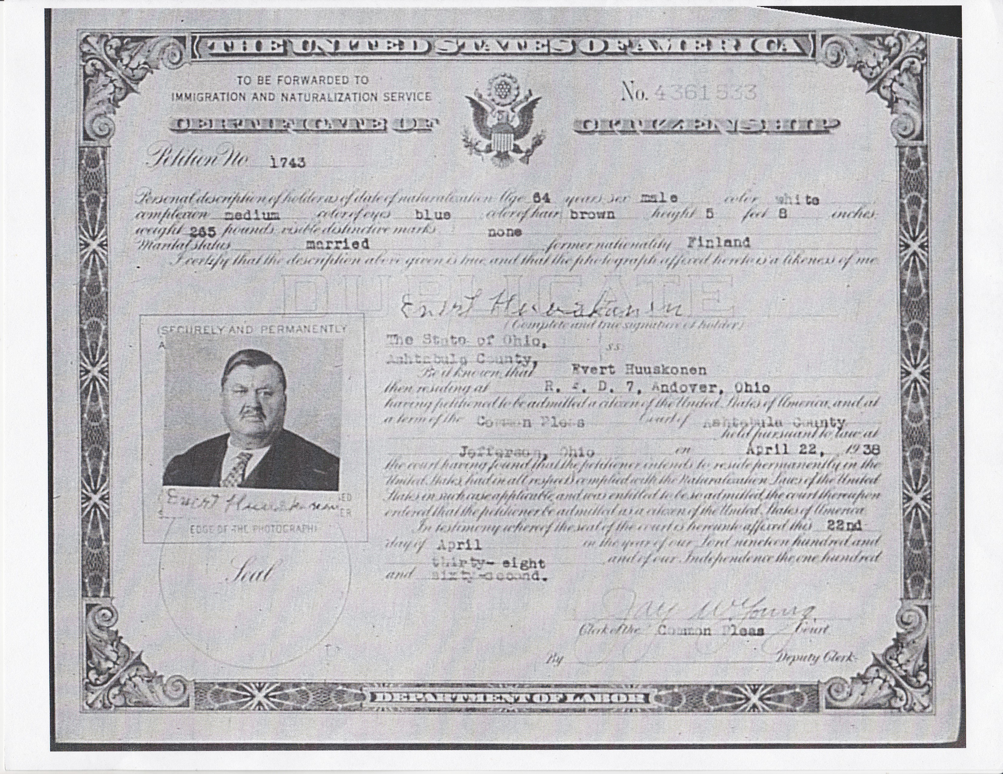 Grandpa huskonen becomes a us citizen collecting ancestors certificate of citizenship huskonen evert xflitez Images