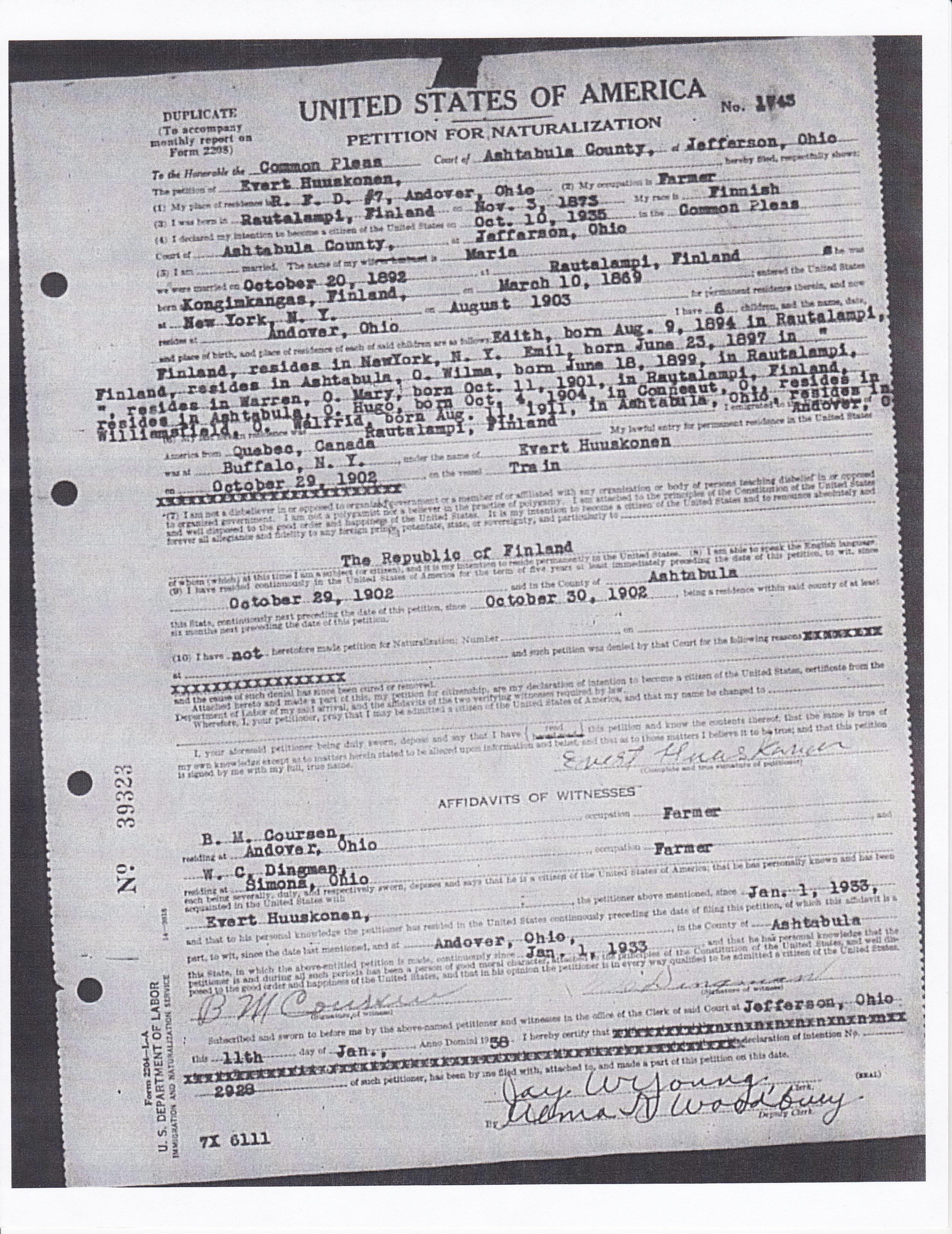 Petition for Citizenship -- Huskonen, Evert